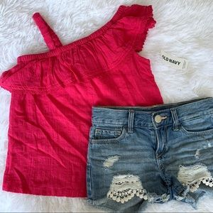 Old Navy Pink Top and Denim Distressed Shorts Set